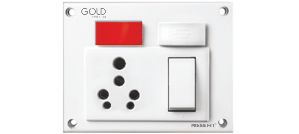 Gold Indian Switch Socket Combined