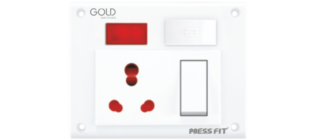 Gold Switch Socket Combined